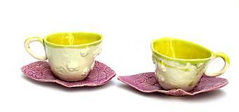 Nádoby - šálka žltá s tanierikom - 9606476_