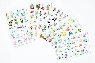 Papier - Kaktus set - nálepky - 9608450_