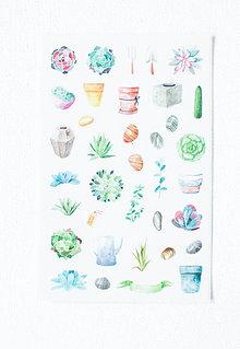Papier - Kaktus set - nálepky  (Pán Suculent) - 9608459_
