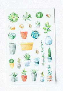 Papier - Kaktus set - nálepky  (Pán Kvetináčik) - 9608469_