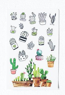 Papier - Kaktus set - nálepky  (Pán Happy Kaktus) - 9608472_