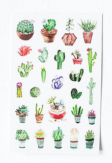 Papier - Kaktus set - nálepky  (Pán Kaktus Kvietok) - 9608477_