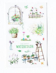 Papier - Akvarelový set - nálepky  (Akvarel V.) - 9608539_