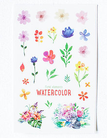 Papier - Akvarelový set - nálepky  (Akvarel VI.) - 9608541_