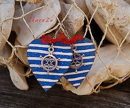 Náušnice - Ľúbim námorníka - 9607557_
