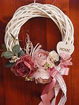 Dekorácie - Vintage staroružový veniec so srdcom HOME - 9605907_