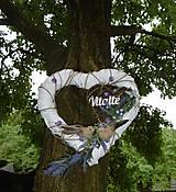 Dekorácie - Biele závesné srdce s vôňou levandule - 9609628_