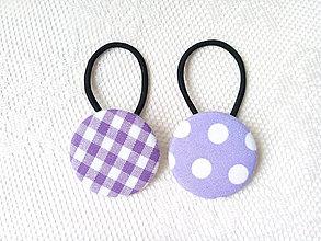 Ozdoby do vlasov - BonBon gumičky – buttonky (violet/white) - 9609371_
