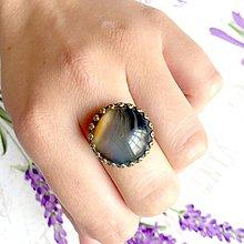 Prstene - Bronze Romantic Brown Agate Ring / Bronzový prsteň s hnedým pásikavým achátom - 9609680_