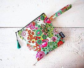 Taštičky - Kozmetická taška vodeodolná - kvetinová pestrá - 9611039_