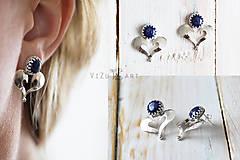 Náušnice - Strieborné napichovačky s lapis lazuli - IndigoFOLK - 9610057_