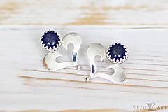 Náušnice - Strieborné napichovačky s lapis lazuli - IndigoFOLK - 9610063_