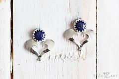 Náušnice - Strieborné napichovačky s lapis lazuli - IndigoFOLK - 9610064_