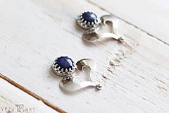Náušnice - Strieborné napichovačky s lapis lazuli - IndigoFOLK - 9610065_