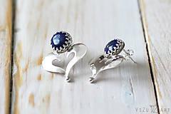 Náušnice - Strieborné napichovačky s lapis lazuli - IndigoFOLK - 9610068_
