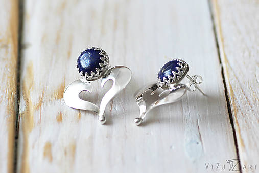 Strieborné napichovačky s lapis lazuli - IndigoFOLK