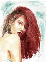 Akvarelový obraz na objednávku - dvojfarebne ladený portrét