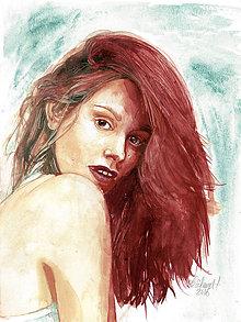 Obrazy - Akvarelový obraz na objednávku - dvojfarebne ladený portrét - 9608958_