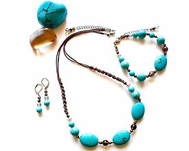 Sady šperkov - Sada šperků tyrkenit a záhněda - 9610500_