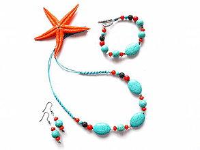 Sady šperkov - Sada šperků tyrkenit, korál, láva - 9610532_