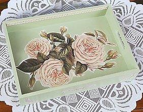 Nádoby - Podnos zelená ruža - 9610786_