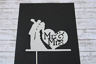 Papier - Zápich do svadobnej torty- Mr & Mrs (strieborný) - 9611316_