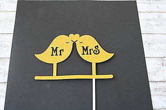 Papier - Zápich do svadobnej torty - Mr & Mrs vtáčatká (zlatý) - 9611642_