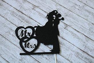 Papier - Tortový zápich - Mladomanželia Mr & Mrs - 9611677_