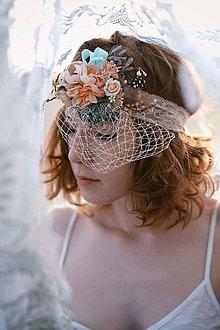 Ozdoby do vlasov - Kvetinová retro čelenka na čipke