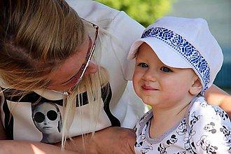 Detské čiapky - Šiltovka Folk 100% ľan-natural biela - 9611877_