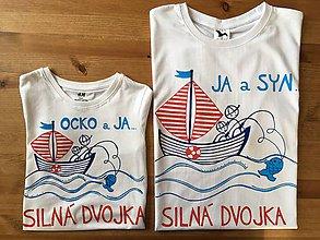 Oblečenie - Originálne maľované tričká pre otca a syna s rybárskym motívom (Detské + dospelácke na bielych tričkách) - 9609149_
