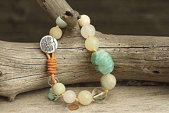 Náramky - Boho náramok z minerálov amazonit, jadeit, krištáľ - 9609270_