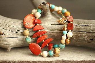 Náramky - Bohemian dvojradový náramok z minerálov korál, jaspis, regalit - 9611013_