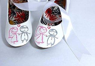 Obuv - svadobné balerínky pink/grey - 9614869_