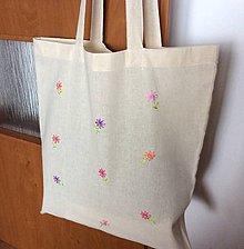 Nákupné tašky - taška vyšívané kvietky - 9614430_