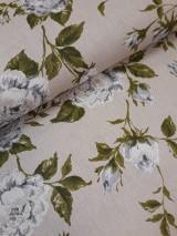Textil - Látka režná zelené kvety - 9614006_