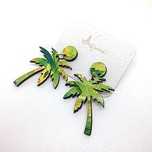 Náušnice - Palma visiaca  (zelená) - 9614818_