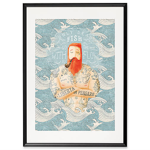 Art-Print Sailor Dead Fish A3