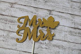 Papier - Tortový zápich - Mr a Mrs - zlatý trblietavý - 9614602_