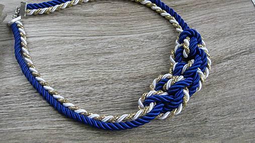 Uzlový náhrdelník 5 mm šnúra (modro bielo zlatý č. 2187)   TARRA ... 54cc5d962a