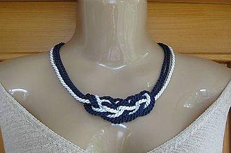 Náhrdelníky - Uzlový náhrdelník z troch šnúr (modro biely č. 2185) - 9613383_