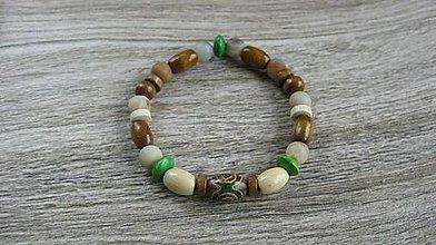 Šperky - Pánsky náramok pružný prírodný z minerálov (Amazonit + DZI+drevené korálky, č. 2188) - 9614471_