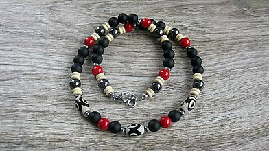 Šperky - Pánsky náhrdelník okolo krku z minerálov - chirurgická oceľ (Koral+ onyx+hemati+DZI č. 2191) - 9614559_