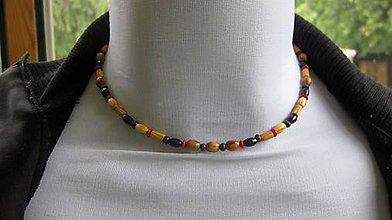 Šperky - Pánsky náhrdelník okolo krku z minerálov - chirurgická oceľ (koral + drevené korálky č. 2193) - 9614629_