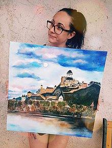 Obrazy - Trenčiansky hrad- olejomaľba - 9613081_
