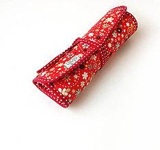 Iné tašky - Púzdro na šperky Zmes malých kvietkov na červenej - 9612931_