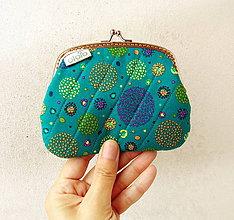 Peňaženky - Peňaženka XL Zhluk bodiek - tyrkysová - 9612950_