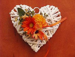 Dekorácie - Srdce s oranžovými kvietkami 15cm pre učiteľku - 9613276_