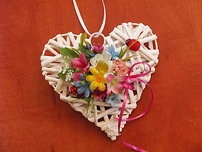 Dekorácie - Srdce s farebnými kvietkami s lienkou15cm pre učiteľku - 9613295_