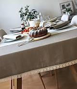 Úžitkový textil - Ľanový obrus s krajkou - 9614572_